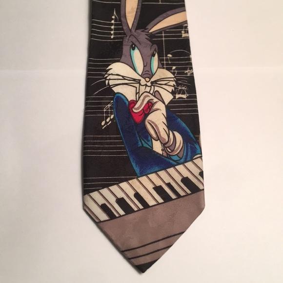 Accessories Vintage 1900s Bugs Bunny Music Piano Tie Necktie